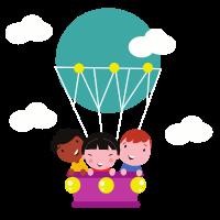 Mneschen in einem Heißluftballon. gamble-check
