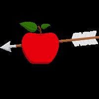 gamble-check Pfeil wird durch einen Apfel geschossen, symbol für Vetrauen.